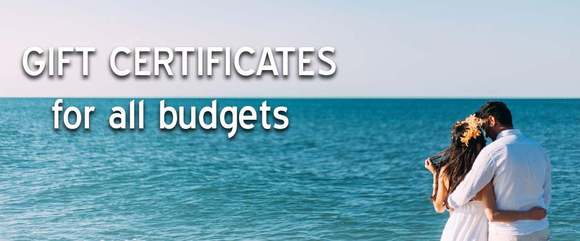 wedding shower or destination wedding gift certificates